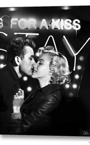 James Dean and Marilyn Monroe Stay for a Kiss 2014 Canvas Art: