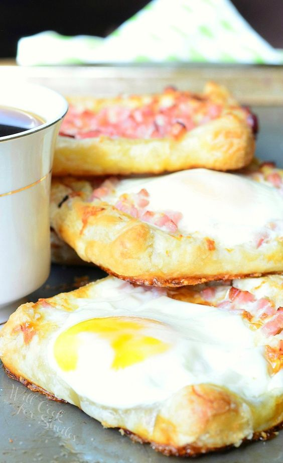 hams breakfast white cheddar cheese eggs honey ham cheese puff ...