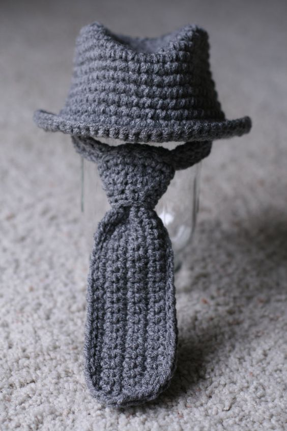 Crochet Baby Tie Pattern Free : Fedora Hat Neck Tie Set Newborn 3 months by ...