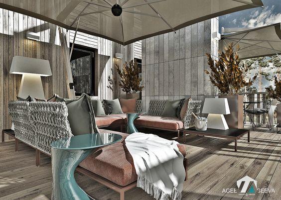 дизайн террасы загородного дома, уличная мебель, уличное освещение, www.ageev-ageeva.com