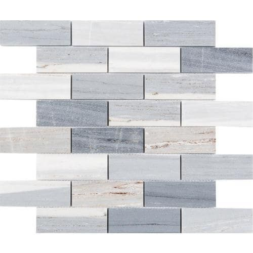 Satori Palissandro 12 In X 12 In Polished Natural Stone Marble Brick Marble Look Wall Tile Lowes Com In 2020 Blue Marble Tile Gray Tile Backsplash Blue Shower Tile