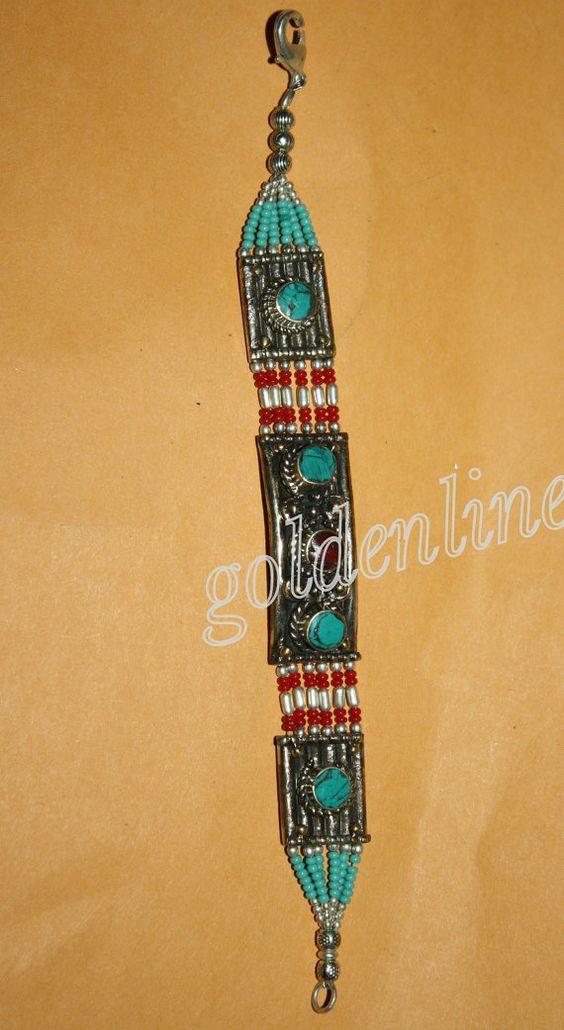 Tibetan turquoise bracelet Nepal bracelet bohemian by goldenlines