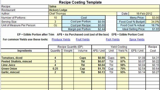 Recipe Cost Card Template Luxury Excel Recipe Costing Template