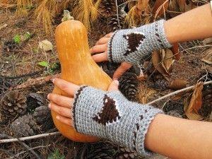 Mr.Fox Fingerless Mitts Crochet - Thehomesteadsurvival