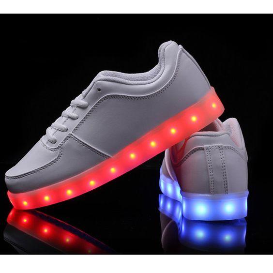 vnfire 7 couleur unisexe homme femme usb charge led lumi re lumineux clignotants chaussures de. Black Bedroom Furniture Sets. Home Design Ideas