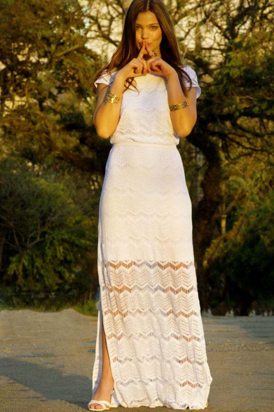 Vestido longo branco para o dia a dia