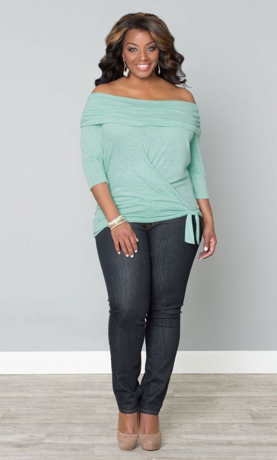 NWT KIYONNA (5X) Womens Dream Departure Off Shoulder Top in Heathered Mint Plus | Off shoulder ...