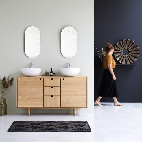 Meuble Double Vasque En Chene 145cm Meubles Salle De Bain En 2020 Meuble Sous Vasque Meuble Salle De Bain Meuble Double Vasque