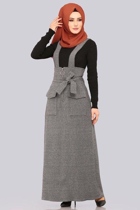 Modaselvim Elbise Halka Fermuarli Jile 5458mp186 Gri Elbise Islami Giyim Elbiseler