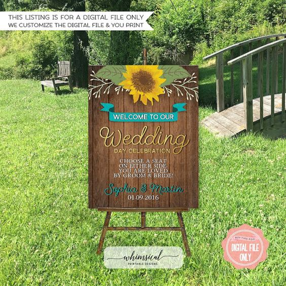 Large Wedding Welcome Signs - Shimmering Leaves  Welcome your guests to your big day with this beautiful printable 16x20 large format sign! *****Please note that this listing is for a digital file only. No physical items are sent to you. Any frames, flowers, desk items, etc., shown in the photo are computer generated and are not included in the listing in any way.*****   ♥ ORDERING PROCESS ♥  Please note that the flowers in this design cannot be changed.  When making your purchase, please…