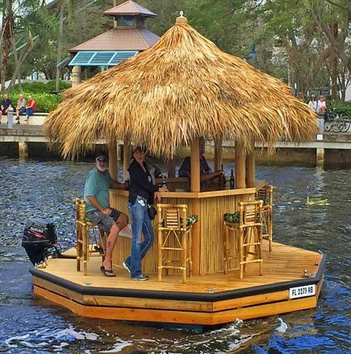 Cruisin' Tiki Boat Floating around all day on a cruisin Tiki bar sounds like a great day to us. #relax #boating #alcohol