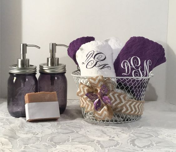 Purple Mason Jar soap lotion dispenser, Butterfly Bathroom gift ...