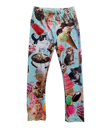 Another great find on #zulily! Aqua Kittens & Ice Cream Leggings - Infant, Toddler & Girls #zulilyfinds