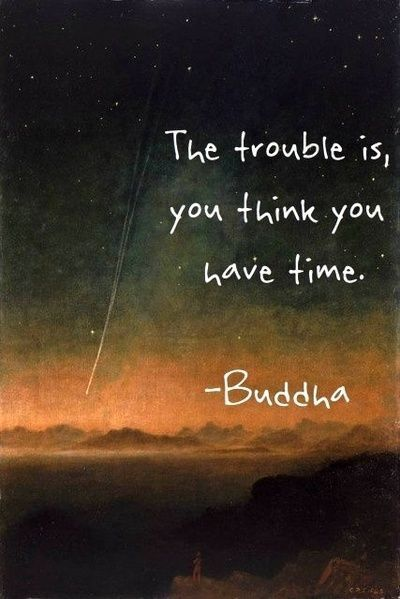 "Don't take anything for granted. Time is precious. ""The trouble is, you think you have time."" Buddha:"