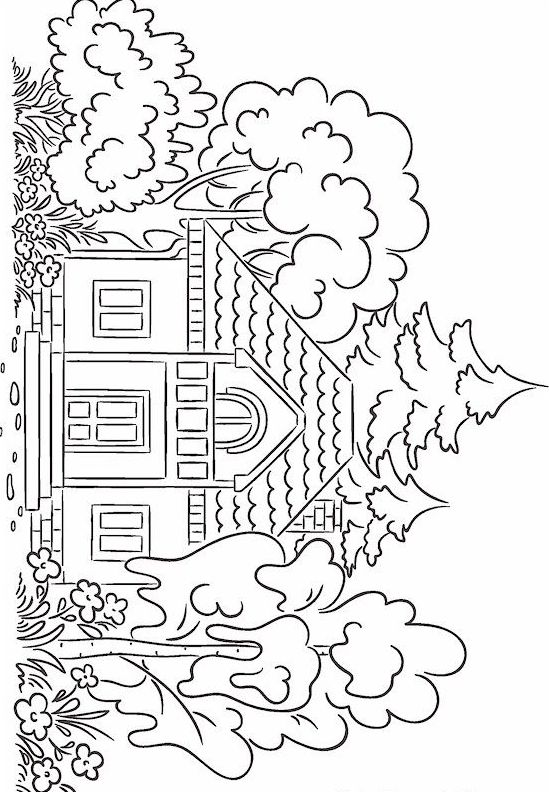 House Coloring Page Mandalas Coloring