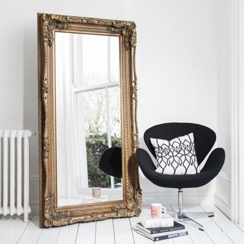 A full length French antique gold mirror which is perfect to use as a dressing mirror. This can be wall hung, but we just adore this as a leaner, it just emphasizes its effortless grandeur! Size: 175 x 89cm #mirror #goldmirror #ornatemirror #bedroomideas #bedroomdecor #bedroomdesign  #ornate