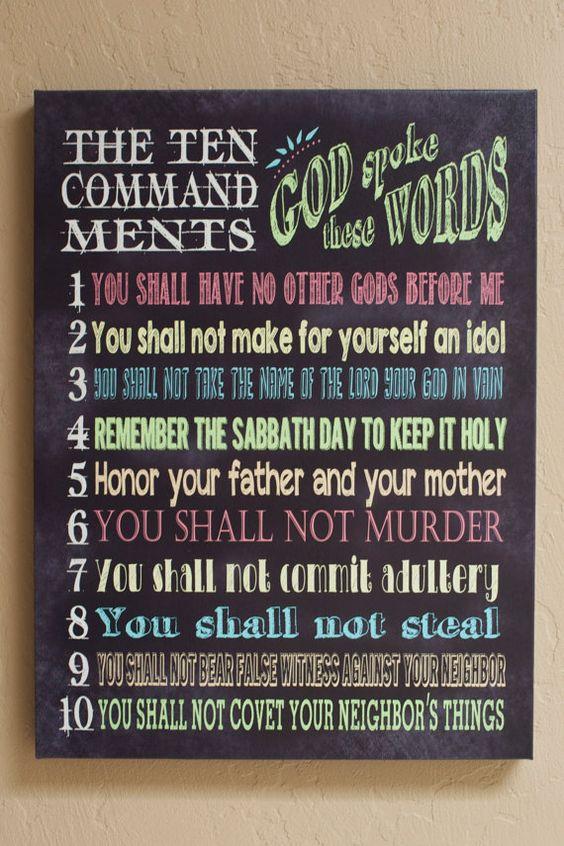 """Ten (10) Commandments Canvas Wall Art Poster 18""""x24"""""""