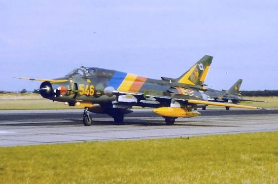 "Sukhoi Su-22M-4 ""Fitter-K"" of the East German Air Force in a special farewell scheme before the LSK ceased flight operations on September 30th, 1990"