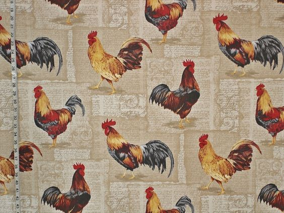 French rooster fabric chicken document script from Brick House Fabric: Novelty Fabric: