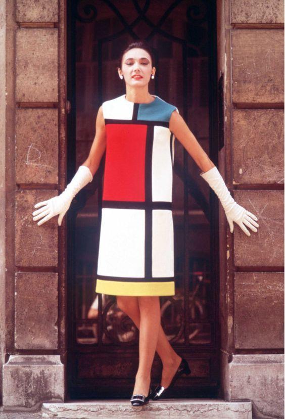 Yves Saint Laurent homage to Piet Mondrian, 1965
