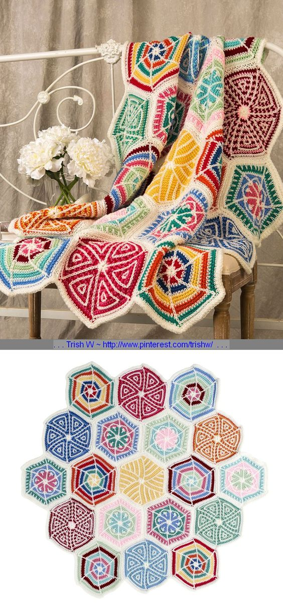 """Mandala Sampler Throw, free pattern (LW5180) by Bendy Carter for Red Heart. Nineteen hexagons (each 12"""" across) worked in SC & chains. Decorative surface stitching. Twelve colors, hook size 'I' . . . ღTrish W ~ http://www.pinterest.com/trishw/ . . . #crochet #afghan #blanket More"""
