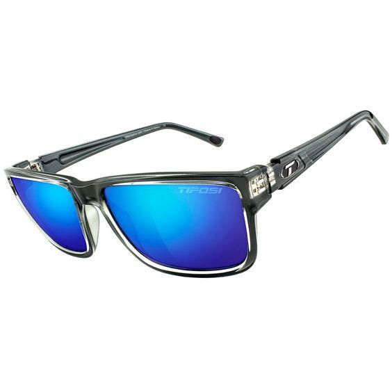 Tifosi Hagen XL Smoke Bright Blue Lens Sunglasses - Crystal Smoke