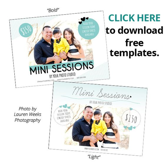 Two free photoshop templates for photographers to promote their mini sessions magazinemama for Free mini session templates