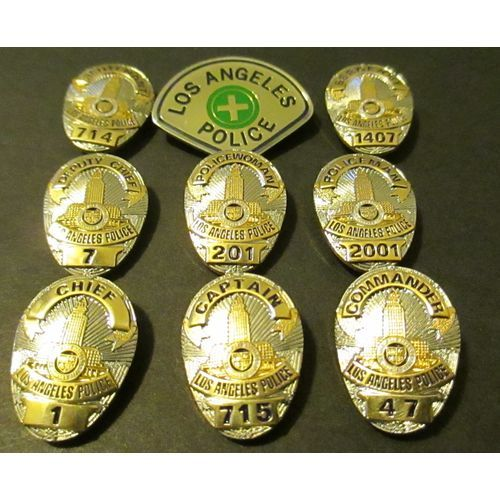 Lapd Mini Badge Lot Of 9 All Different Ranks High Quality 50 S Style Badge Police Badge Fire Badge