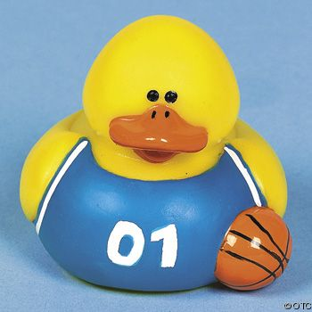 """Basketball Rubber Duck in Blue Uniform. Retired and out of pro""""duck""""tion."""