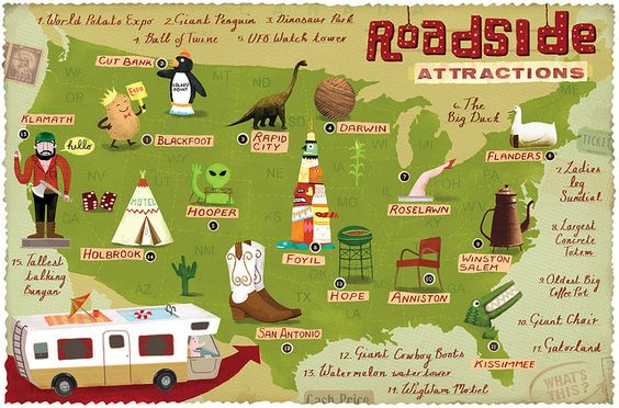 Roadside Attractions Map  Roadside attractions Road trips and