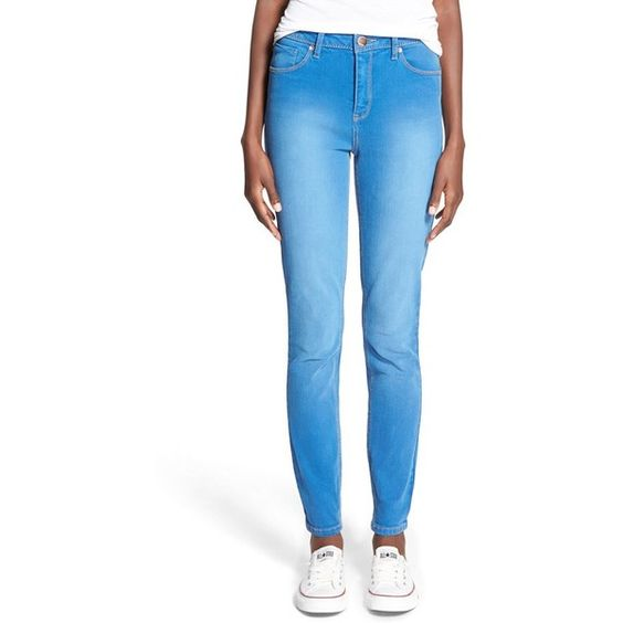 Junior Generra High Waist Skinny Jeans (£38) ❤ liked on Polyvore