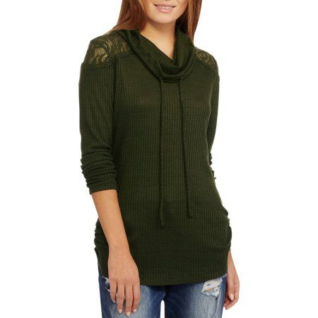 No Boundaries Juniors' Cowl Neck Long Sleeve Top with Lace Yoke, Size: Small, Green