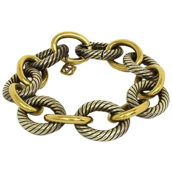 Pre-owned David Yurman Sterling Silver & 18K Gold Bracelet (178275 RSD) ❤ liked on Polyvore