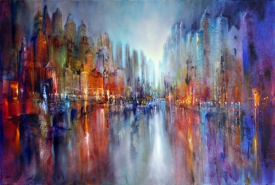 Annette Scmucker  - painting of a cityscape
