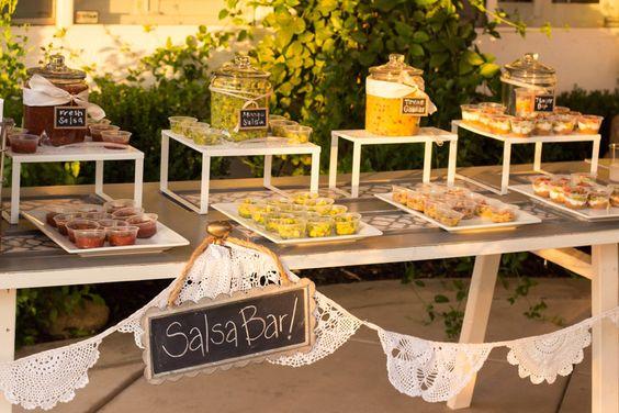 Kim S Backyard Wedding Designed By Bobette Reality And Retrospect Wedding Food Bars Salsa Bar Taco Bar Wedding