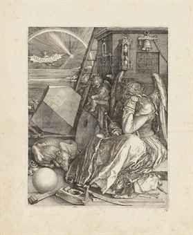 Albrecht Dürer  Melencolia I  Engraving, 1514,   P. 9 3/8 x 7 7/16 in. (239 x 189 mm.)  S. 13 3/8 x 10 5/8 in. (341 x 270 mm.)