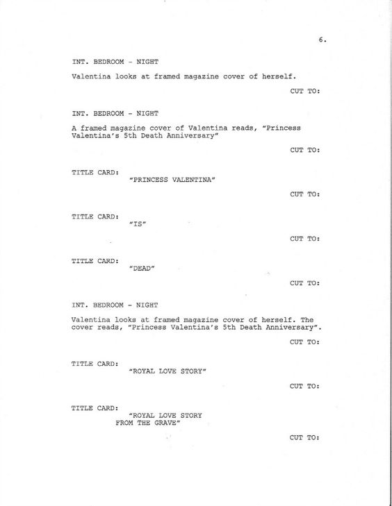 Page 6 of Royal Love Story From The Grave - Sample Screenplay - screenplay template