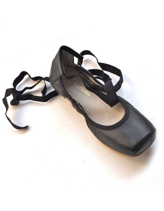 Belle Chiara Square Toe Ballet Flats in Black Leather