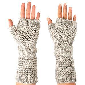 Suzanne Bettley Fingerless Knit Gloves- Oat