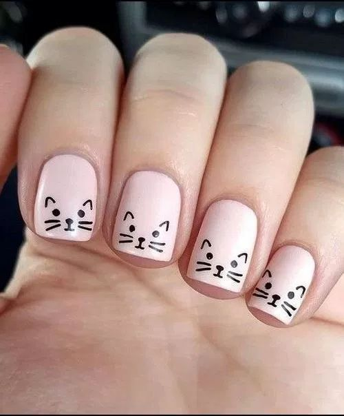 Nail Art Designs For Kids Nails In 2020 Nail Art For Kids Minimalist Nails Cat Nail Designs