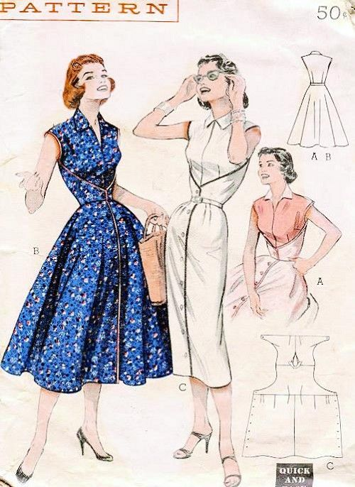 Vintage 50s Butterick 6836 Wrap Around Dress The Walk-Away Dress Flared or Slim Skirt Bust 32 or 34 Vintage Sewing Pattern UNCUT FF: