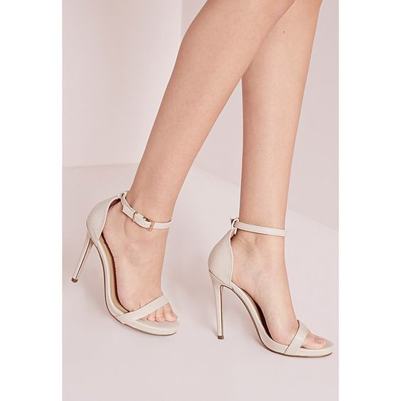 Missguided Barely There Heeled Sandals ($34) ❤ liked on Polyvore featuring shoes, sandals, nude, strappy sandals, nude shoes, strappy high heel sandals, faux leather sandals and strappy shoes
