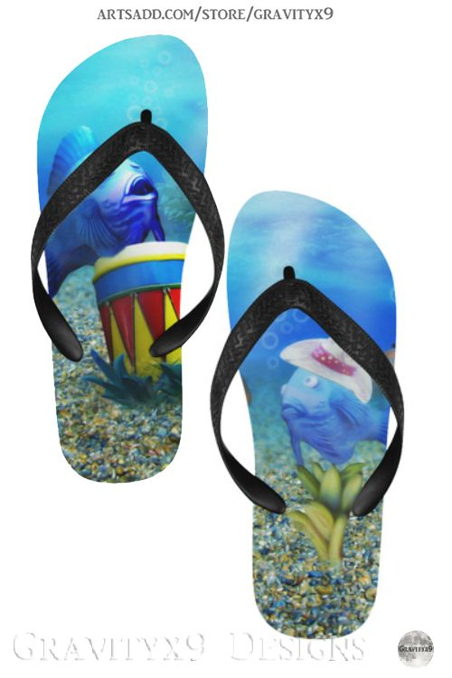 The Singing Tropical Fish Flip Flops