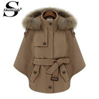 Sheinside Autumn Korean Classic Brand Women Casual Desigual Camel Fur Hooded Batwing Sleeve Cape Coat