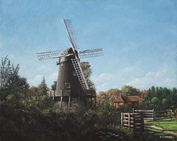 Southampton Bursledon Windmill-oil painting of the old, 200 year old windmill at Bursledon, on the outskirts of southampton in the county of Hampshire.  Artwork by artist Martin Davey. Available as a framed print or a rolled up print for you to frame. #landscape #windmill #painting #art #oilpainting #hampshire