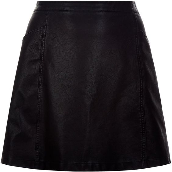 New Look Curves Black Leather-Look A-Line Skirt (€23) ❤ liked on Polyvore featuring skirts, black, vegan leather skirt, imitation leather skirt, a line skirt, faux leather a line skirt and fake leather skirt