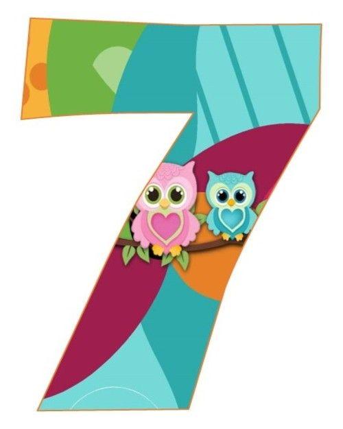 Zahl - Nummer - Number / 7 - Sieben - Seven (Eulen / Owls)