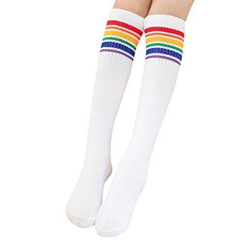 Amiley Baby Kid Little Girl Cute Rainbow Long Knee High Socks Leg Warmer Rainbow Socks Tube Socks Socks