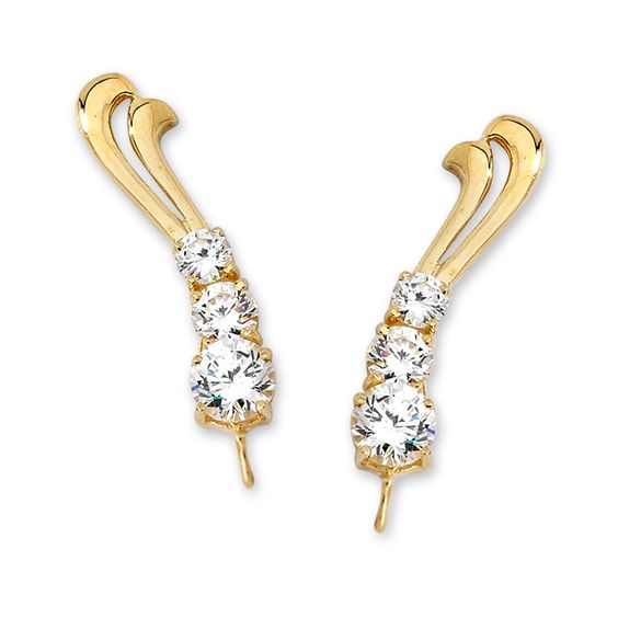 14k Yellow Gold Row of Swirl Cubic Zirconia Ear Pin Earrings #earpinearrings #sterlingsilverearpins #earringsthatgoup #pinearrings #earpinsjewelry #earpin #earpin #earspirals #earspirals #slideonearrings #climbtheearearrings #wrapearrings #nonpiercedearrings #earcuffs #personalizedbracelets #earcuffs #cuffearrings #cliponearrings #earspiralsearrings #earspiralearrings
