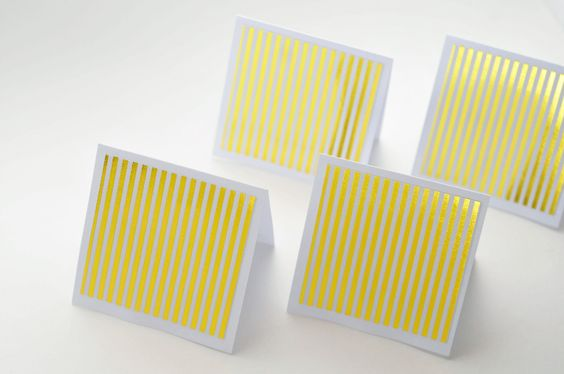 Gold Striped Mini Cards, Set of 4, Blank Cards, Enclosure Cards, Gift Card, Favor Card, Thank You Card, Journaling Card, Scrapbooking, by whoiamdesign on Etsy